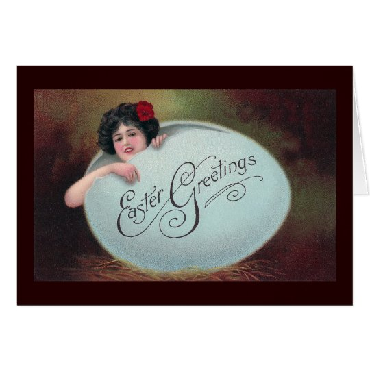 Lady in Big Blue Easter Egg Card