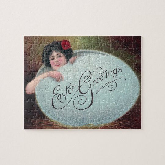 Lady in Big Blue Easter Egg Jigsaw Puzzle