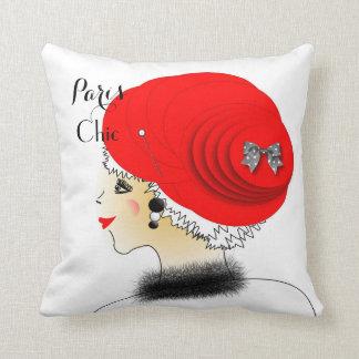 Lady In Big Hat Paris Fashion Illustration Throw Pillow