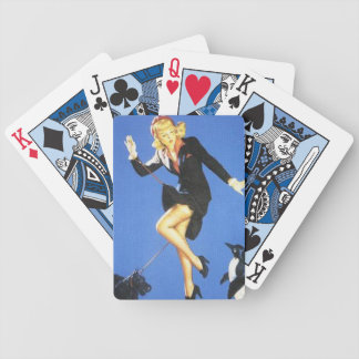 Lady In Black Pin Up Bicycle Playing Cards