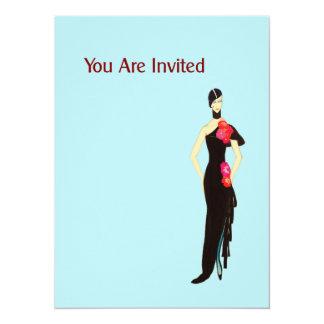 Lady In Black - Vintage Fashion Illustration 5.5x7.5 Paper Invitation Card