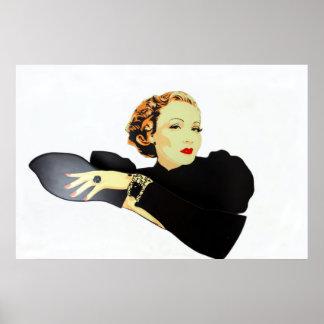 lady in black vintage poster