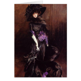 Lady in Black with a Greyhound Greeting Card