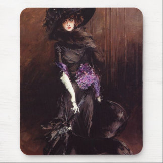 Lady in Black with a Greyhound Mouse Pad