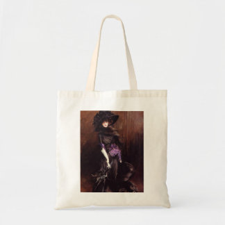 Lady in Black with a Greyhound Tote Bag