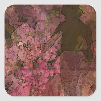 LADY IN BLOOMS SQUARE STICKER