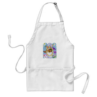 lady in blue adult apron