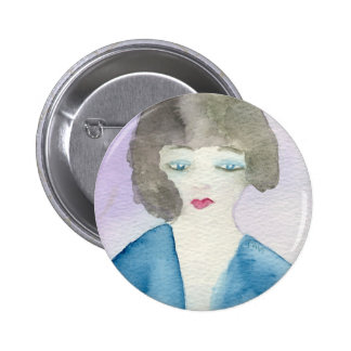 Lady in Blue Button
