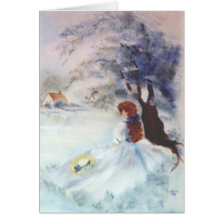 Lady in Blue by Lake and Tree Painting Card