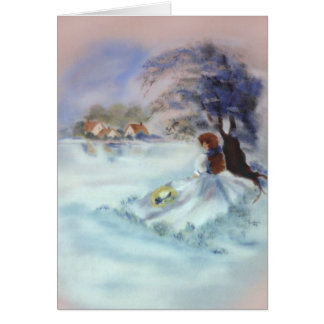 Lady in Blue by Lake and Tree Painting II Card