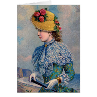 Lady in Blue by the Sea, Greeting Card