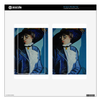 ''Lady in Blue'' Decal For Kindle Fire