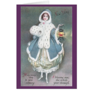 Lady in Blue Dress with Lantern Vintage New Year Card