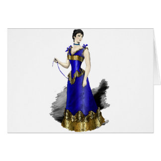 Lady in Blue Gold Corset Gown Card