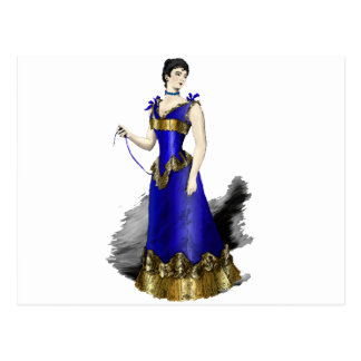 Lady in Blue Gold Corset Gown Postcard