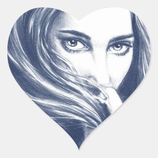 Lady In Blue Heart Sticker