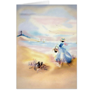 Lady in Blue on Beach Painting II Card