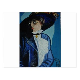 ''Lady in Blue'' Postcard