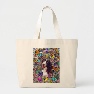 Lady in Butterflies  - Brittany Spaniel Dog Jumbo Tote Bag