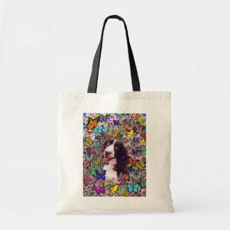 Lady in Butterflies  - Brittany Spaniel Dog Budget Tote Bag