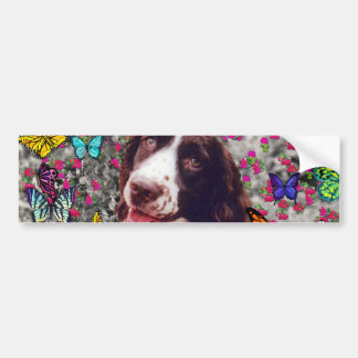 Lady in Butterflies  - Brittany Spaniel Dog Bumper Sticker