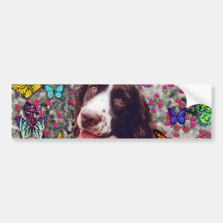 Lady in Butterflies  - Brittany Spaniel Dog Car Bumper Sticker