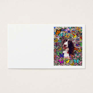 Lady in Butterflies  - Brittany Spaniel Dog Business Card
