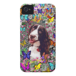 Lady in Butterflies  - Brittany Spaniel Dog iPhone 4 Cases