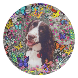 Lady in Butterflies  - Brittany Spaniel Dog Dinner Plate