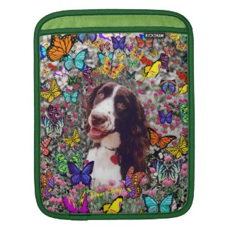 Lady in Butterflies - Brittany Spaniel Dog iPad Sleeves