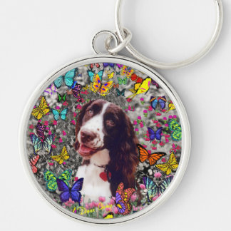 Lady in Butterflies  - Brittany Spaniel Dog Silver-Colored Round Keychain