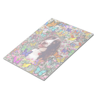 Lady in Butterflies  - Brittany Spaniel Dog Memo Pad