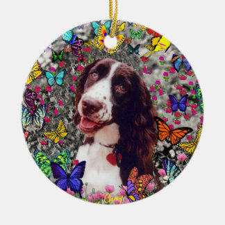 Lady in Butterflies  - Brittany Spaniel Dog Christmas Ornaments