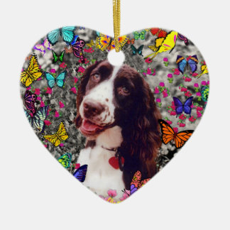 Lady in Butterflies  - Brittany Spaniel Dog Ornaments