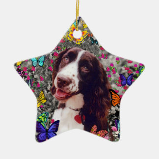 Lady in Butterflies  - Brittany Spaniel Dog Christmas Ornament