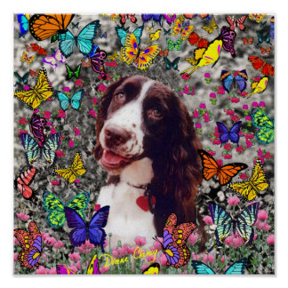Lady in Butterflies  - Brittany Spaniel Dog Poster
