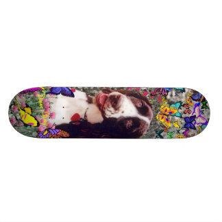 Lady in Butterflies  - Brittany Spaniel Dog Skateboard