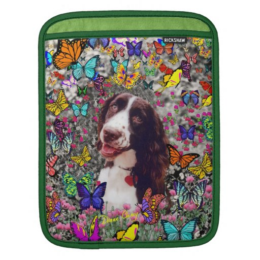 Lady in Butterflies  - Brittany Spaniel Dog Sleeves For iPads