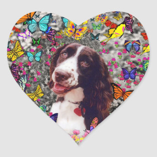 Lady in Butterflies  - Brittany Spaniel Dog Heart Sticker