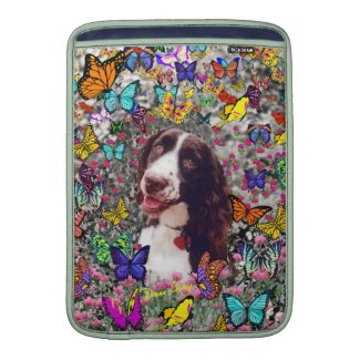 Lady in Butterflies - Brittany Spaniel Sleeves For Macbook Air