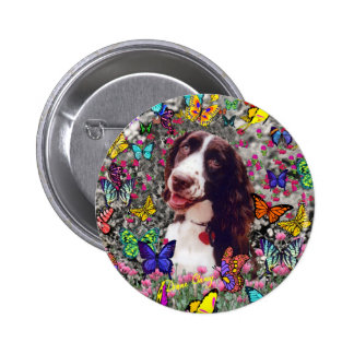 Lady in Butterflies Button - Brittany Spaniel