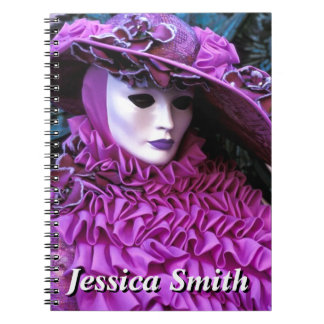 Lady In Carnival Costume With Purple Hat Notebook
