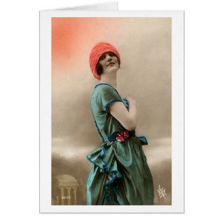 Lady in Cloche Hat Card