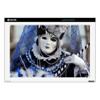 "Lady in Elegant Blue Carnival Costume Decals For 17"" Laptops"