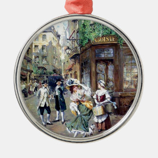 Lady in Europe antique painting Metal Ornament