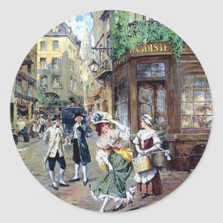 Lady in Europe antique painting Classic Round Sticker