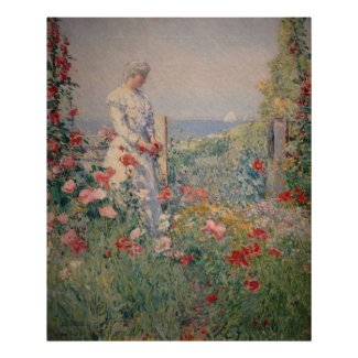 Lady in Flower Garden Poster