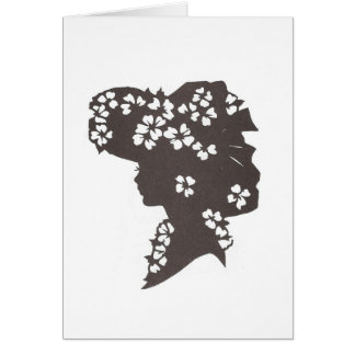 Lady in flowered hat greeting card