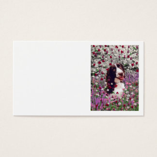 Lady in Flowers - Brittany Spaniel Dog Business Card