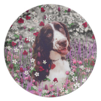 Lady in Flowers - Brittany Spaniel Dog Dinner Plate